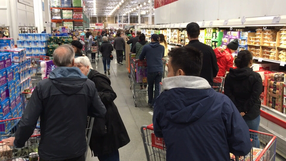 Shoppers pack the aisles at Costco in Langford: March 13, 2020 (CTV News)