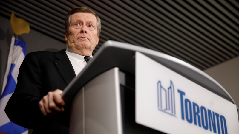 Toronto Mayor John Tory speaks during a press conference. THE CANADIAN PRESS/Cole Burston