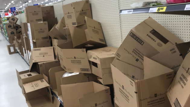 Several empty toilet paper boxes at Superstore. (Viewer photo)