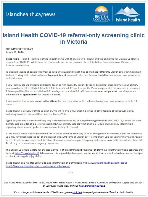 Island Health screening clinic