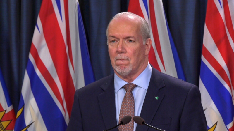 B.C. Premier John Horgan speaks to media in Victoria amid the ongoing coronavirus pandemic on March, 13, 2020. (CTV News)
