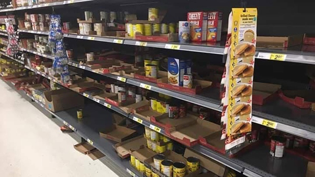 Many of the shelves at this Walmart location on 130 Avenue in Calgary were cleared out.
