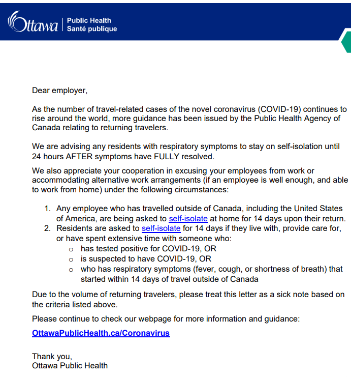 Ottawa Public Health letter