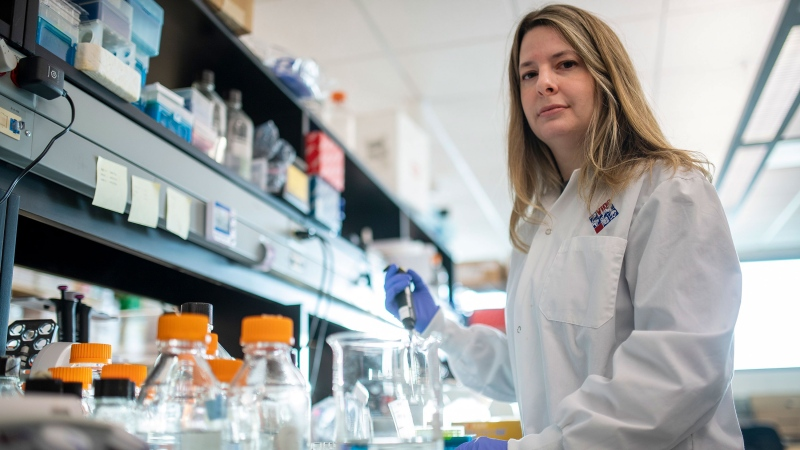 Alyson Kelvin, who is working on different coronavirus solutions, stands for a photo at her University of Saskatchewan lab inside VIDO-InterVac in Saskatoon, Friday, March 13, 2020. THE CANADIAN PRESS/Liam Richards