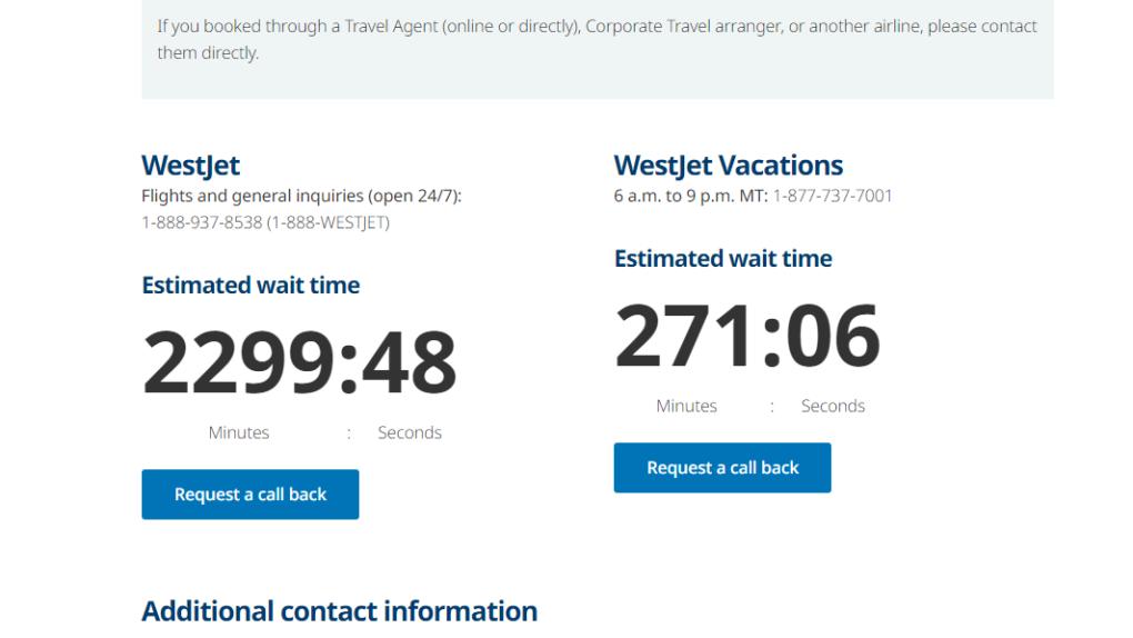 WestJet wait times