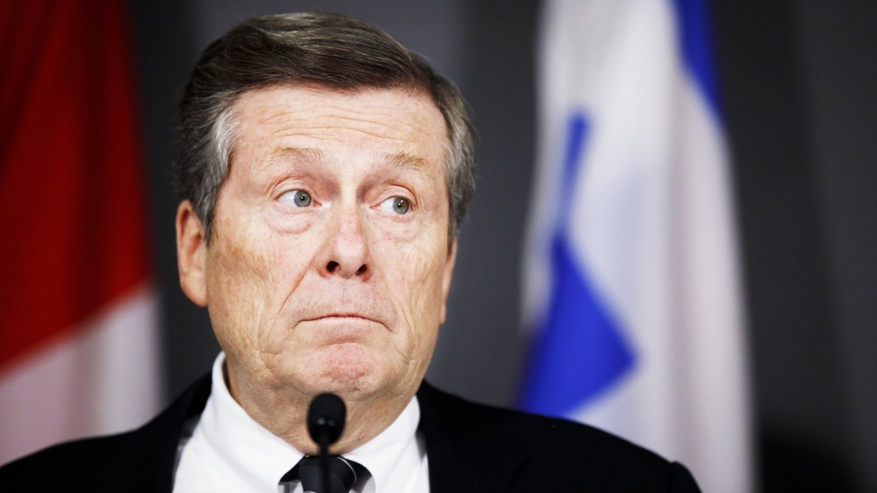 Toronto Mayor John Tory speaks during a press conference to update media on a tentative deal reached between the City of Toronto and the city's outside workers, in Toronto, Saturday, Feb 29, 2020. (THE CANADIAN PRESS / Cole Burston)