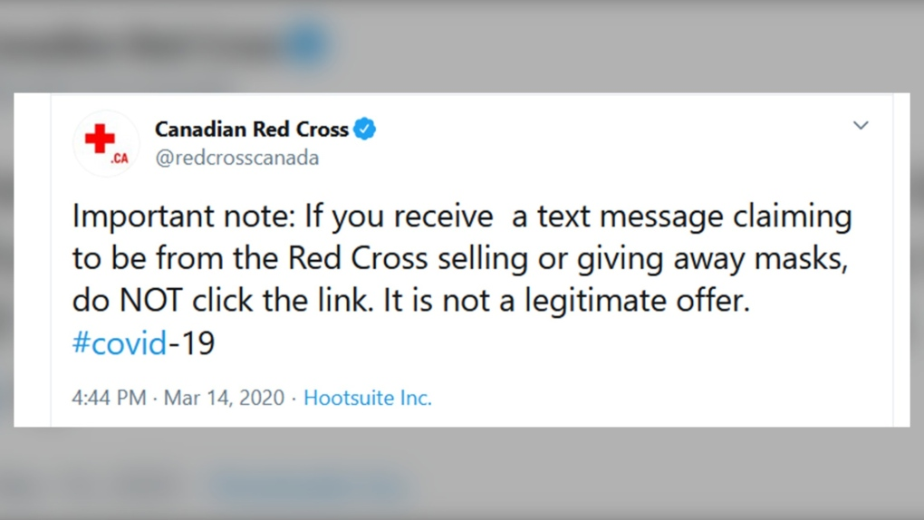 Canadian Red Cross, text message, scam