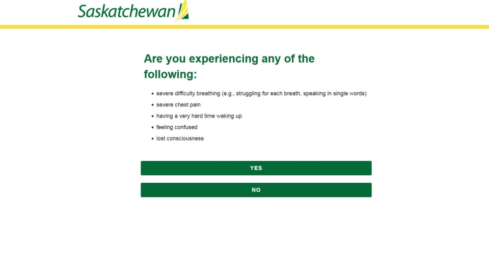 Saskatchewan has rolled out a self assessment tool for COVID-19. (Source: Province of Saskatchewan)