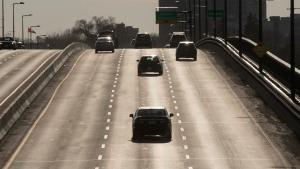 Light rush hour traffic crosses an inter-provincial bridge between Gatineau, Que. and Ottawa, Monday, March 16, 2020 in Ottawa. (Adrian Wyld/THE CANADIAN PRESS)