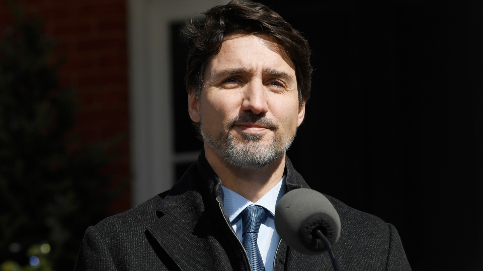 Prime Minister Justin Trudeau holds a news conference on the COVID-19 situation, at Rideau cottage in Ottawa, on Monday, March 16, 2020. THE CANADIAN PRESS/Adrian Wyld