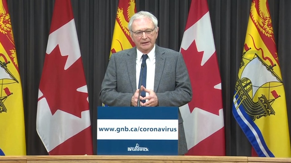 New Brunswick Premier Blaine Higgs makes an announcement regarding COVID-19 during a news conference in Fredericton on March 16, 2020.