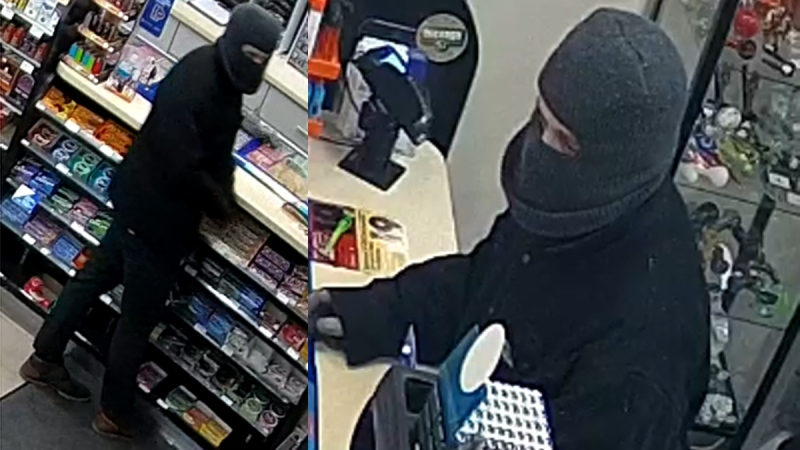 Images from surveillance video released by the Woodstock Police Service show a suspect sought in a robbery on Friday, March 13, 2020.