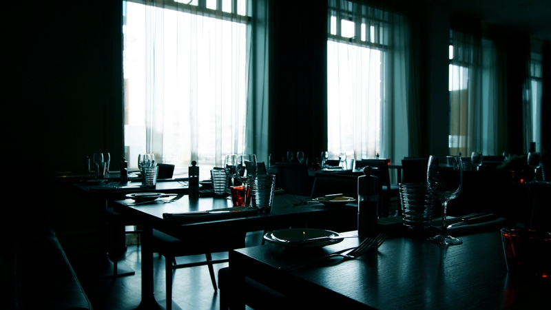 Empty restaurant, restaurant closed