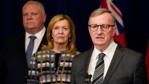 Dr. David Williams, Ontario's chief medial officer of health, speaks as Ontario Premier Doug Ford and Health Minister Christine Elliott look on at an announcement declaring a state of emergency for the province, at the Ontario Legislature in Toronto on Tuesday, March 17, 2020. THE CANADIAN PRESS/Frank Gunn