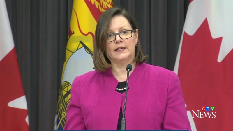 Dr. Jennifer Russell, New Brunswick's medical officer of health, provides an update on COVID-19 during a news conference on March 17, 2020.