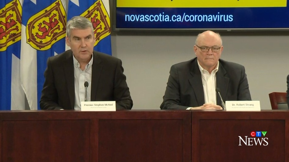 Nova Scotia Premier Stephen McNeil and Dr. Robert Strang, the province's chief medical officer of health, provide an update on COVID-19 during a news conference on March 17, 2020.