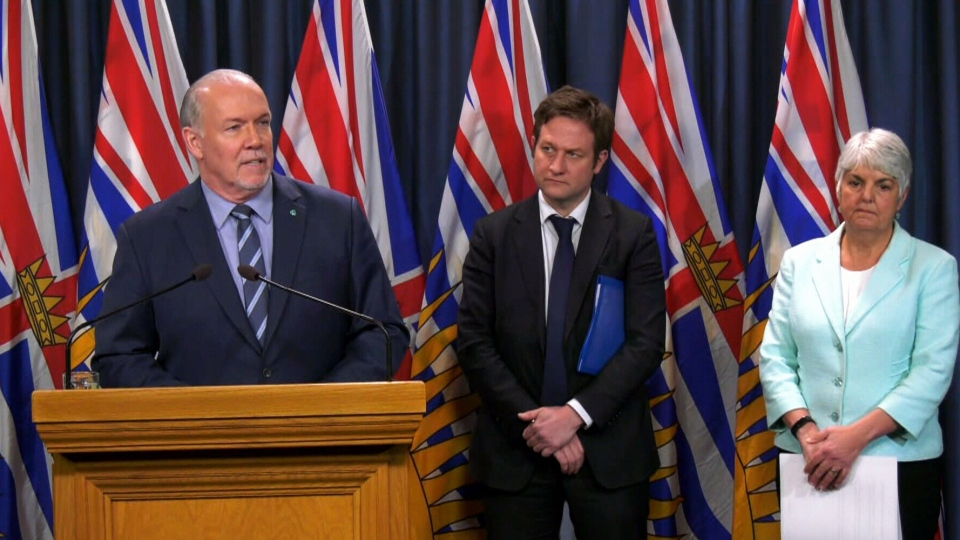 B.C. Premier John Horgan speaks to media in Victoria on Tuesday, March 17, 2020.