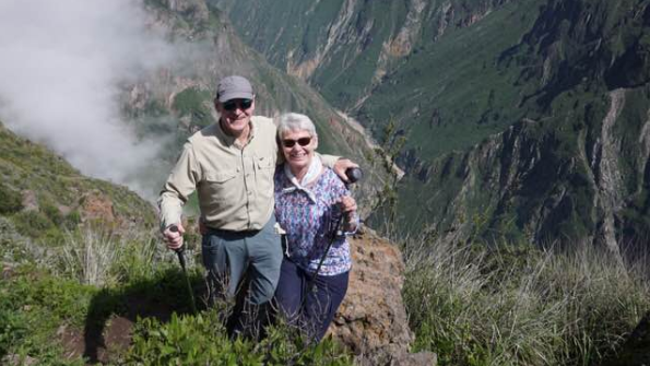 Charles and Cindy Stewart, seen last week in the Andes, are trying to get back home to Canada as the global coronavirus pandemic continues to grow.