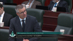 Alberta Finance Minister Travis Toews speaks in the legislative assembly on March 17, 2020.