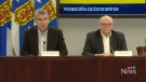 Nova Scotia Premier Stephen McNeil and Chief Medical Officer of Health Dr. Robert Strang provide an update on COVID-19 during a news conference in Halifax on March 18, 2020.