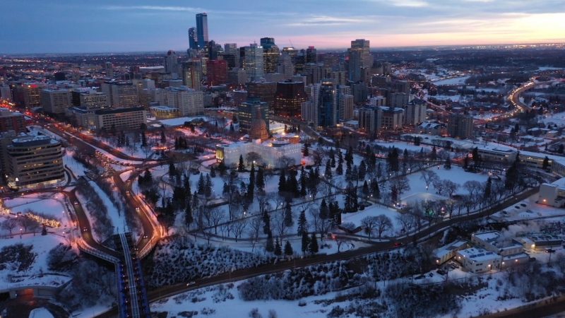 Edmonton skyline, winter 2020