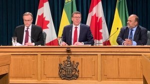 Health Minister Jim Reiter, Premier Scott Moe and Chief Medical Health Officer Dr. Saqib Shahab speak after Sask. declared a state of emergency on March 18, 2020 (Marc Smith / CTV News Regina)