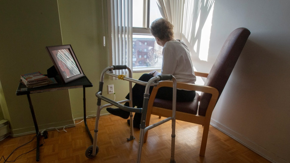 A resident sits in her room at a seniors' residence in Montreal, Thursday, Jan. 30, 2020. (Ryan Remiorz/The Canadian Press)