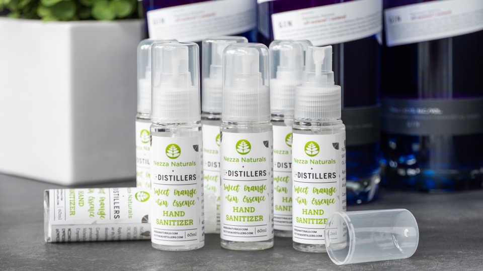 Victoria Distillers and B.C.-based Nezza Naturals have figured out how to convert leftover alcoholic byproduct from the distilling process into hand sanitizer. (Victoria Distillers)