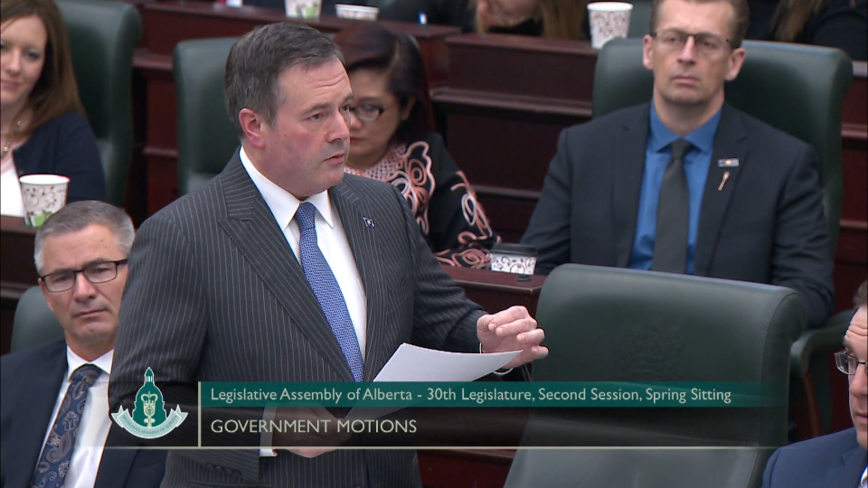 Jason Kenney speaks in Alberta legislature