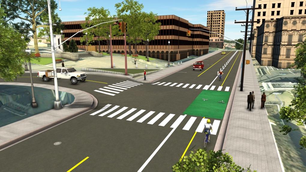 Nanaimo bike lane rendering