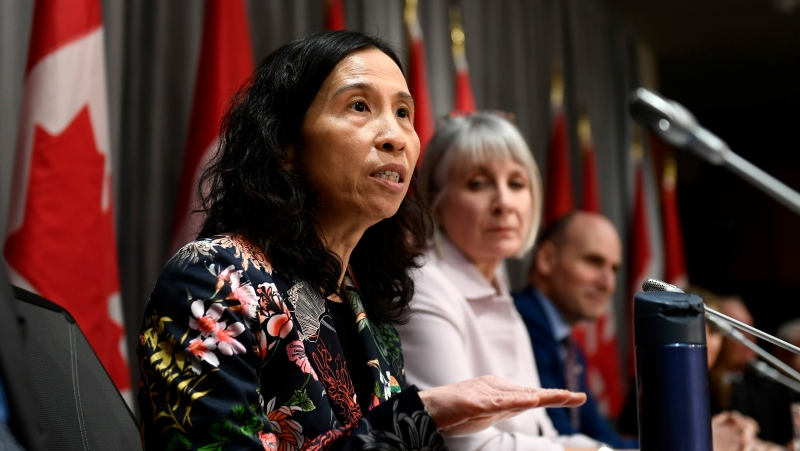 Chief Public Health Officer of Canada Dr. Theresa Tam gestures as she speaks at a press conference on COVID-19, at West Block on Parliament Hill in Ottawa, on Wednesday, March 18, 2020. THE CANADIAN PRESS/Justin Tang