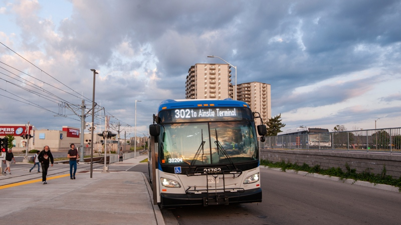 A photo of a GRT bus at Fairview Park Mall. (Courtesy: Grand River Transit)