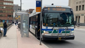 A London Transit Commission bus stops in London, Ont. on Wednesday, March 18, 2020. (Taylor Choma / CTV London)