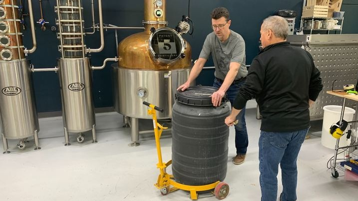 Patent 5 Distillery has halted production of gin and vodka to instead make hand sanitizer during the COVID-19 pandemic. (Jamie Dowsett/ CTV News)
