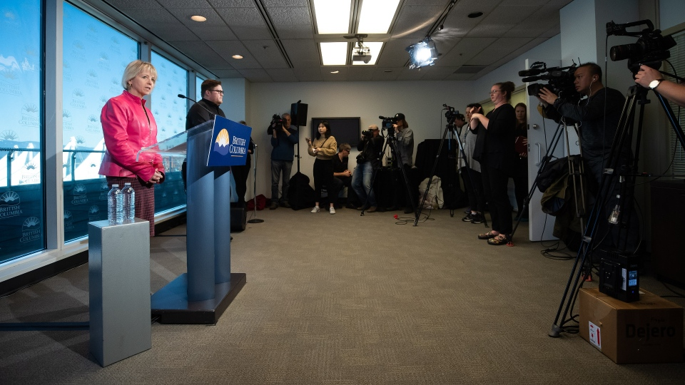 British Columbia provincial health officer Dr. Bonnie Henry provides an update on the coronavirus during a news conference in Vancouver, on Wednesday, March 18, 2020. (THE CANADIAN PRESS/Darryl Dyck)