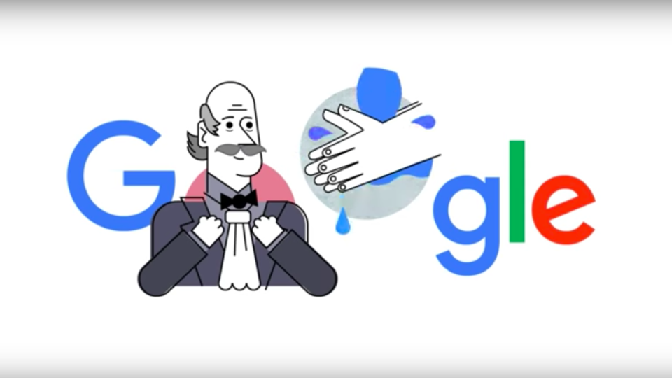 This Google Doodle wants to remind you to wash your hands. (Credit: Google)