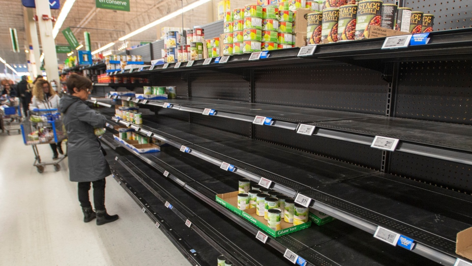 Shoppers stock up on supplies at a Walmart, Thursday, March 19, 2020 in Laval, Que.THE CANADIAN PRESS/Ryan Remiorz