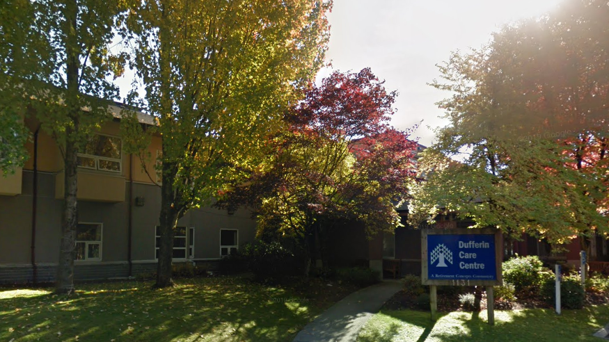 Dufferin Care Centre in Coquitlam, B.C. is seen in this undated Google Maps image. Health officials said Friday that one employee has been diagnosed with the COVID-19 virus.