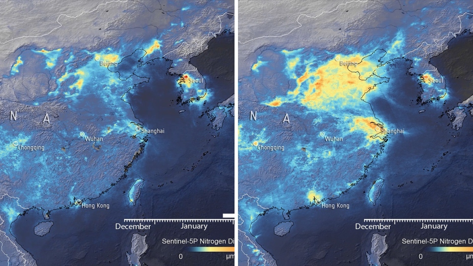 This image created from new satellite data collected by the European Space Agency shows nitrogen dioxide levels in China in early February on the left, and March 16 on the right. (European Space Agency)