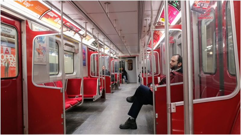 A commuter shows a mostly empty TTC train during rush hour Friday morning. (Twitter/@peterdwhitmore)