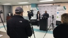 Dr. Wajid Ahmed speaks at the daily briefing on Saturday, March 21, 2020 about the positive case of COVID-19 in Windsor. (Ricardo Veneza / CTV Windsor)