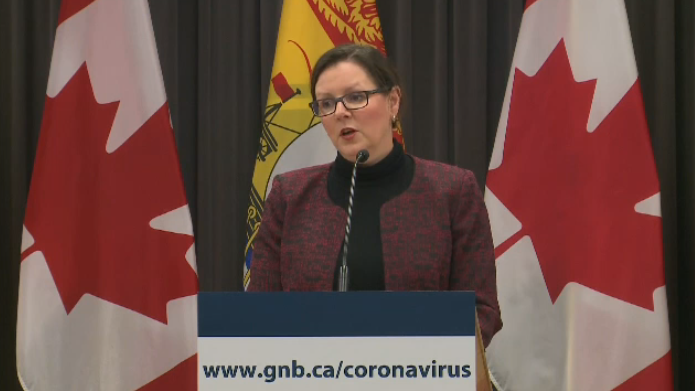 Dr. Jennifer Russell, New Brunswick's medical officer of health, provides an update on COVID-19 during a news conference on March 21, 2020.