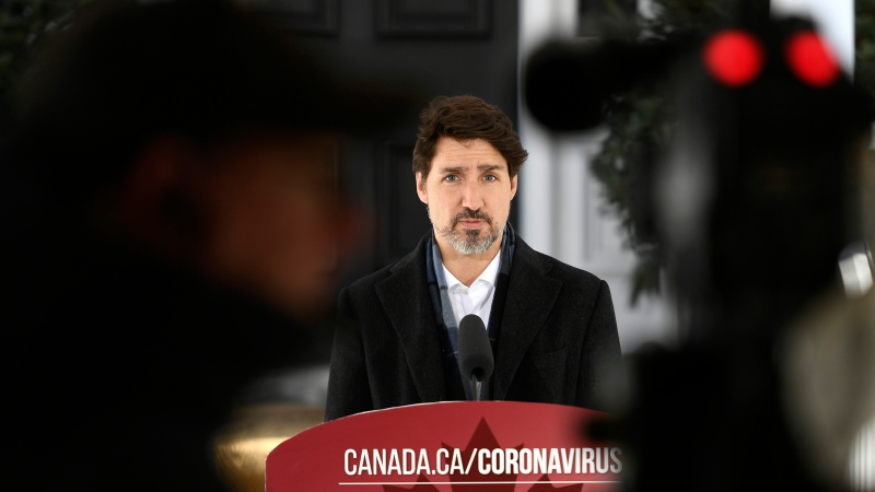 Prime Minister Justin Trudeau speaks at a press conference on COVID-19 at Rideau Cottage, his residence on the grounds of Rideau Hall in Ottawa, on Saturday, March 21, 2020. THE CANADIAN PRESS/Justin Tang
