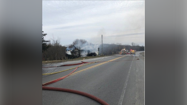 Crews from three fire stations responded to the fire call in Mitchell on Sunday. (Photo: @OPP_WR)