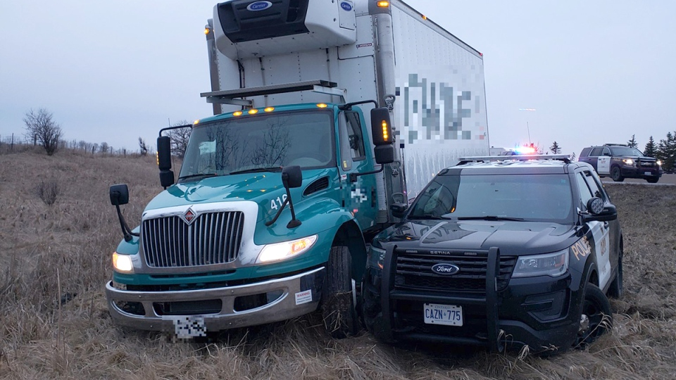 OPP released this image following a police chase on Highway 401 on Sunday, March 23, 2020. (@OPP_WR / Twitter)