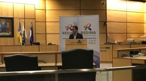 Mayor Michael Fougere speaks on COVID-19 in Regina on March 23, 2020 (Stefanie Davis / CTV News Regina)