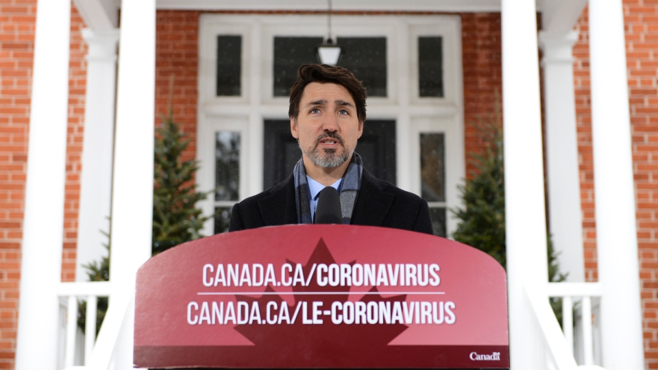 Prime Minister Justin Trudeau addresses Canadians on the COVID-19 situation from Rideau Cottage in Ottawa on Monday, March 23, 2020. THE CANADIAN PRESS/Sean Kilpatrick