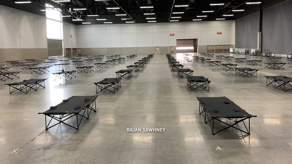 The Edmonton Expo Centre has been repurposed to serve as a makeshift overflow shelter for the homeless amid the COVID-19 pandemic. March 23, 2020. (Courtesy Rajan Sawhney)