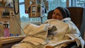 Tanya Miller is shown during a chemotherapy appointment.