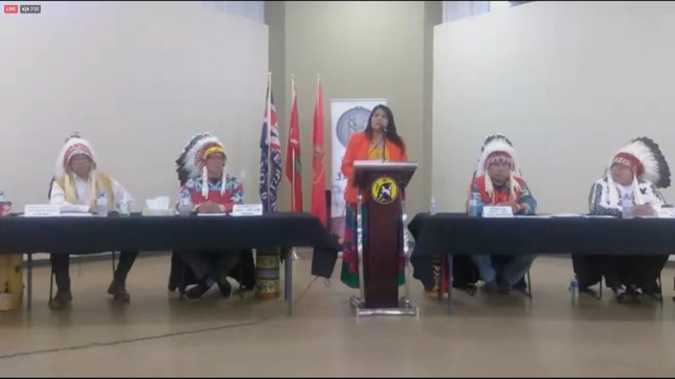 AFN Regional Chief Marlene Poitras joined the chiefs of Ermineskin Cree Nation, Samson Cree Nation, Louis Bull Tribe and Montana Band on March 24 to announce their enacting of Treaty 6's Medicine Chest clause. (Source: Facebook / Ermineskin Cree Nation)